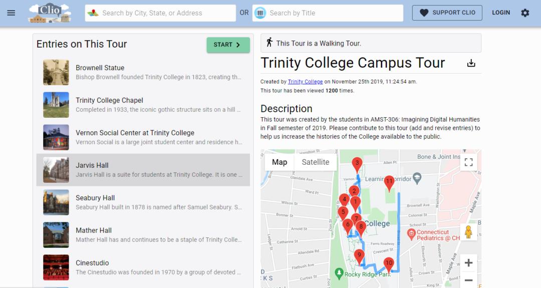 Screenshot of Clio mapping platform